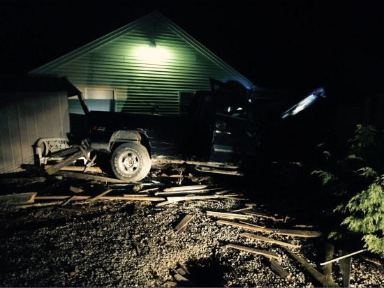 Vanderburgh Sheriff Dave Wedding of Indiana reports on this crash of a truck near Shohoni  crash into a building 032915