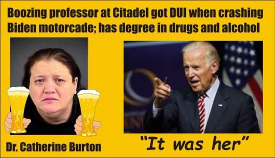 Catherine Burton DUI crashing Biden motorcade Charleston SC 120515