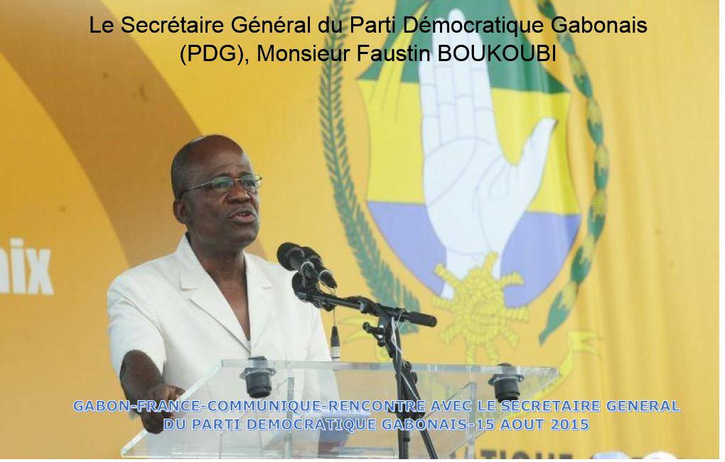 Le Secrétaire Général du Parti Démocratique Gabonais (PDG)-Monsieur Faustin BOUKOUBI
