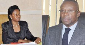Marie-Madeleine Mborantsuo, Présidente de la Cour constitutionnelle et René Aboghe, président de la Commission nationale électorale autonome et permanente du Gabon