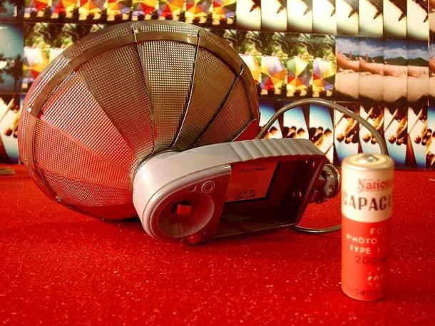 Flash Antigo de Metal, Japonês - Aberto e com o Capacitor