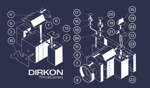 Dirkon Pinhole Camera - blueprint - DXFoto