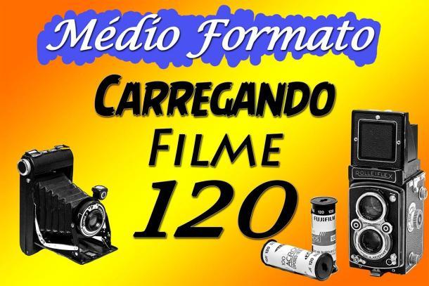 Câmera Velha #7 Carregando câmera de médio formato com Filme 120
