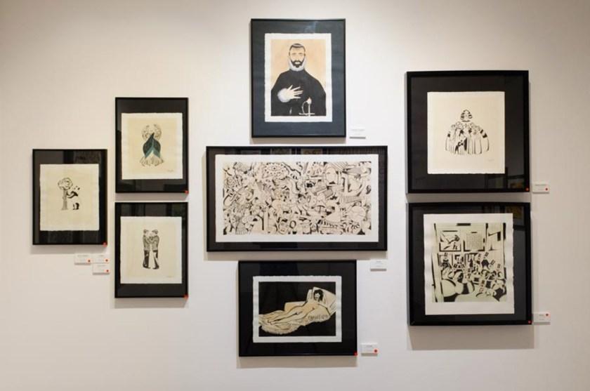 Vista general sala de exposiciones con las obras de Roberto Maján y Sonia Pulido. Foto cortesía: ©La Fiambrera Art Gallery