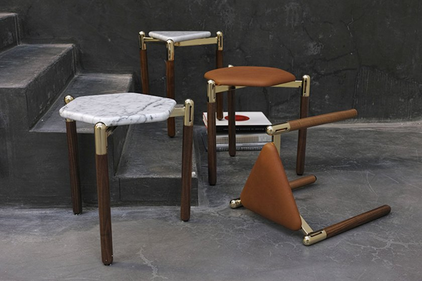 David/Nicolas, Leather Stools & Marble Side Tables, courtesy of Joy Mardini Gallery
