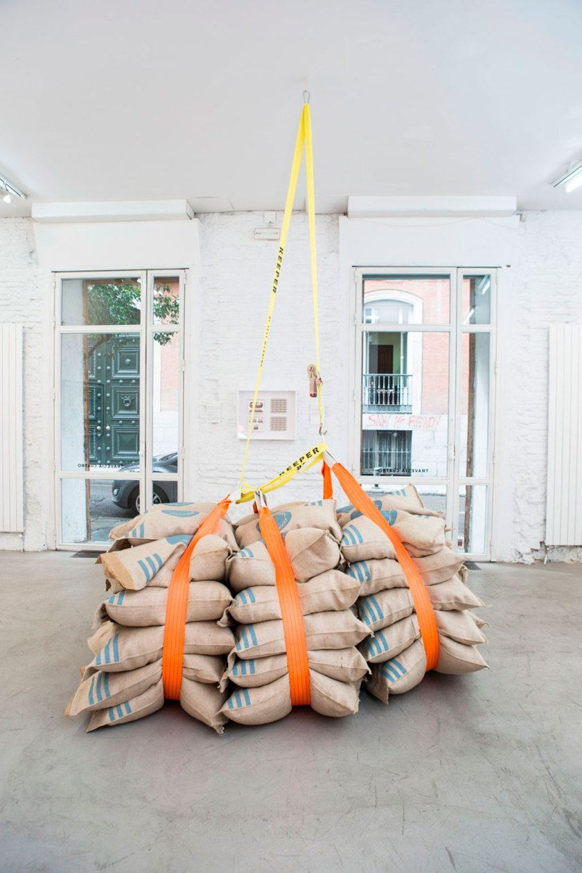 Dumping Bolsa de yute serigrafiada, cincho de carga, mosqueton Dimensiones variables
