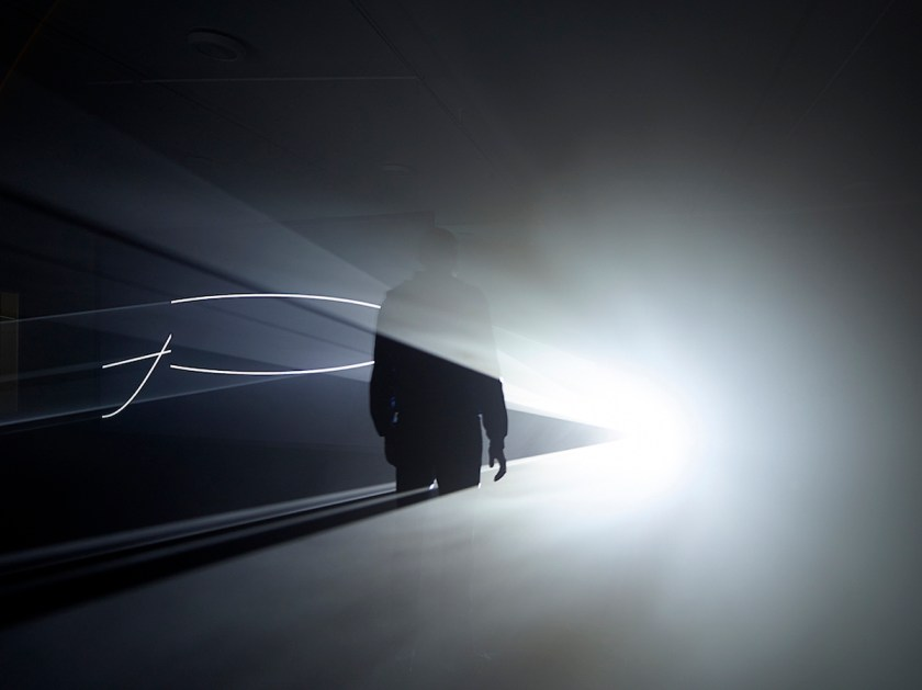 """Anthony McCall. """"Solid Light Films and Other Works"""" (1971-2014). Installation view Eye Film Museum, Amsterdam 2014. Photo by Hans Wilschut."""