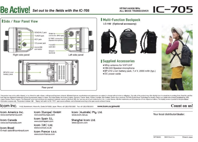 IC-705 PDF Features