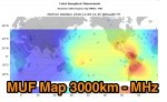 Maximum Usable Frequencies (MUF) for 3000km Radio Signal Paths