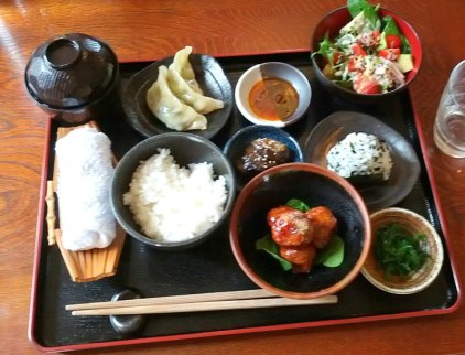A delicious Japanese meal on the SAORI Immersive Weaving Retreat