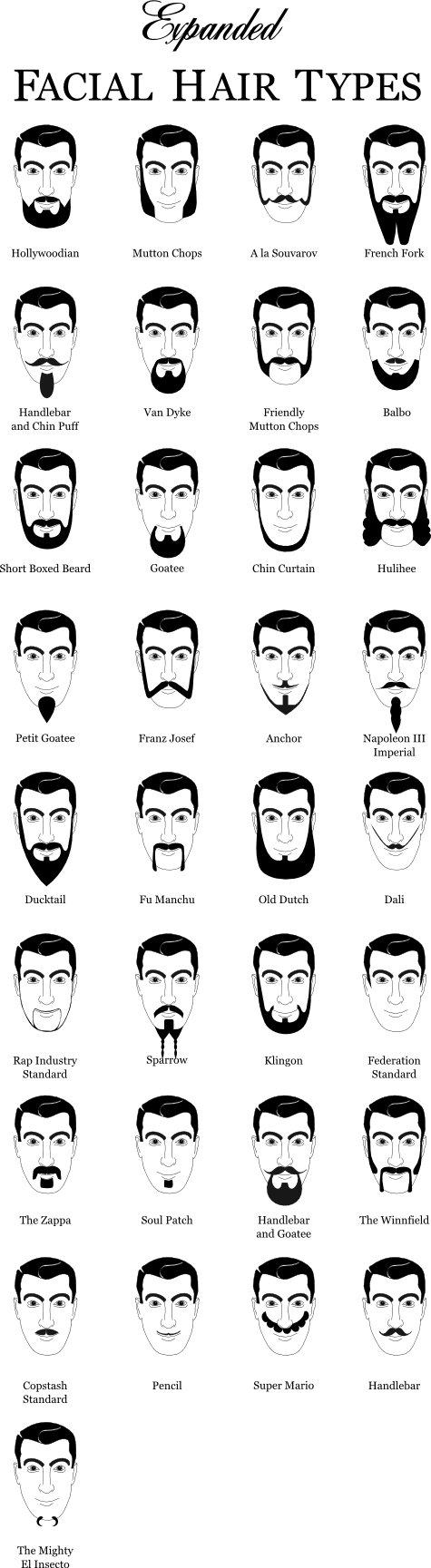facial hair types chart
