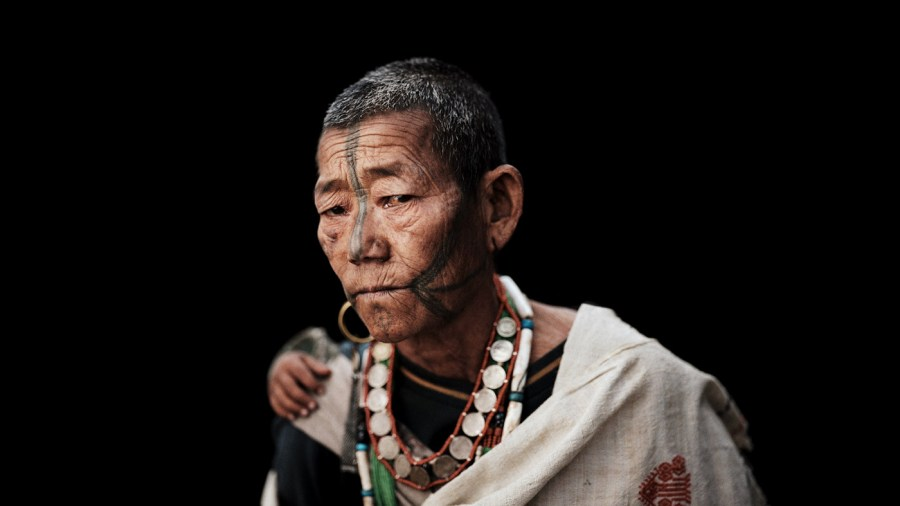 Ollo Woman's Facial Tattoo, Arunachal Pradesh, India