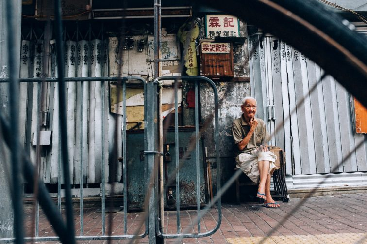 A man finds some alone time in Hong Kong