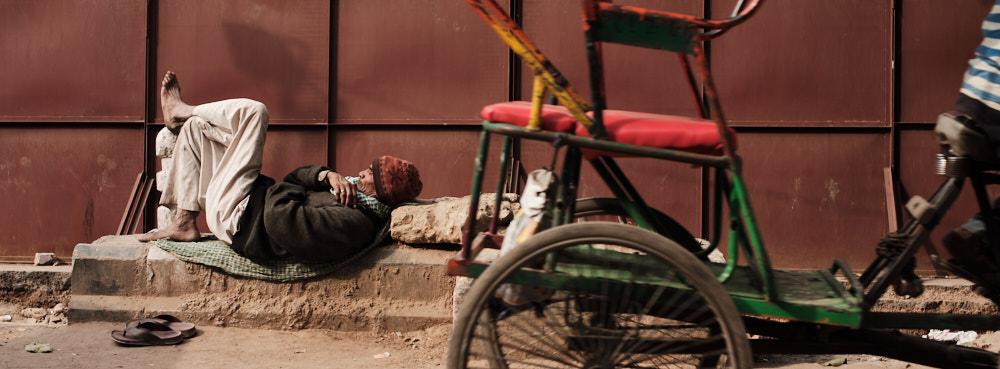 Sleeping in the Street in Old Delhi