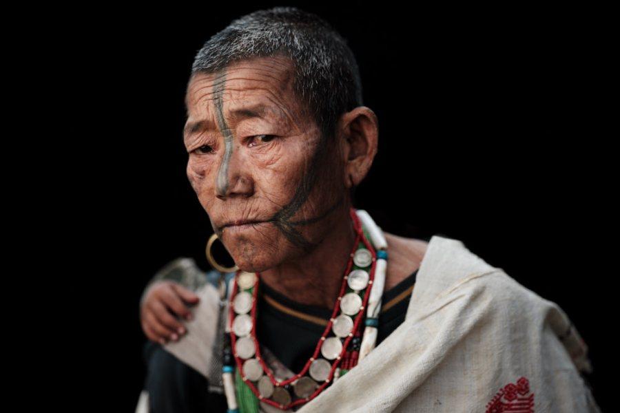 Ollo facial tattoo, Lazu, Arunachal Pradesh, India