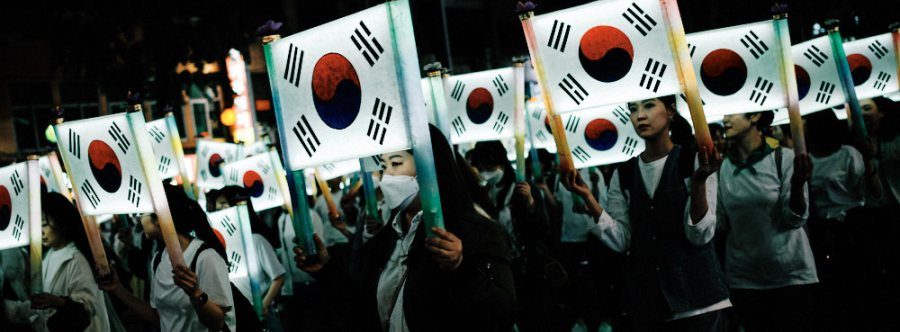 Korean flags and face masks to celebrate Buddha's Birthday in Seoul