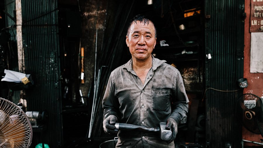 Blacksmith in Old Quarter Hanoi, Vietnam