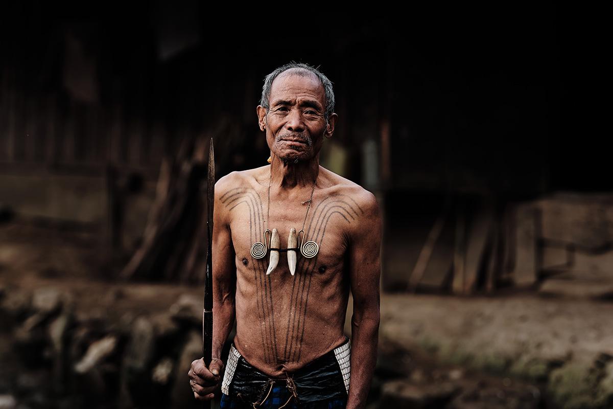 Khiamniungan Naga Man with Chest Tattoo