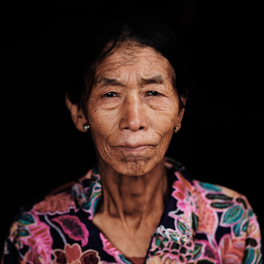 Khiamniungan Naga Woman with Facial Tattoo
