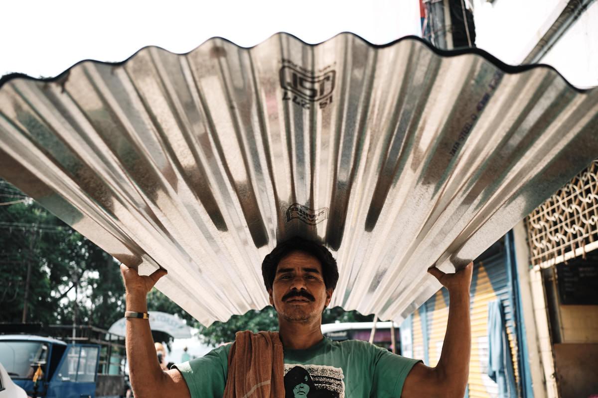 Corrugated Iron - Portrait in Street - Guwahati