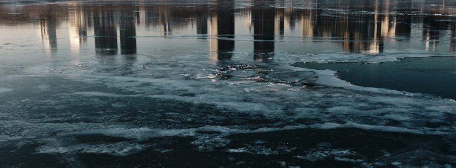 Sunrise Reflected in Frozen Han River