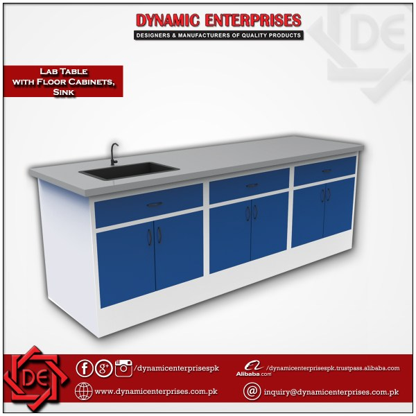 Laboratory Table with Floor Standing Cabinets and PP Sink