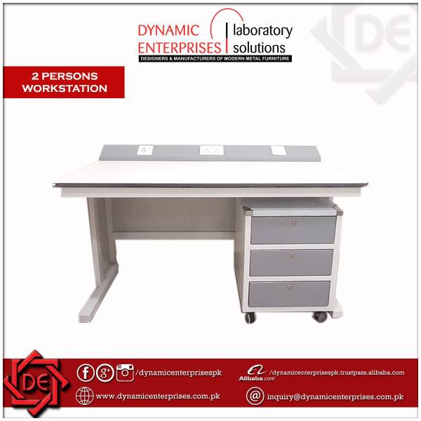 Single Person Workstation with Three Drawers Cabinet