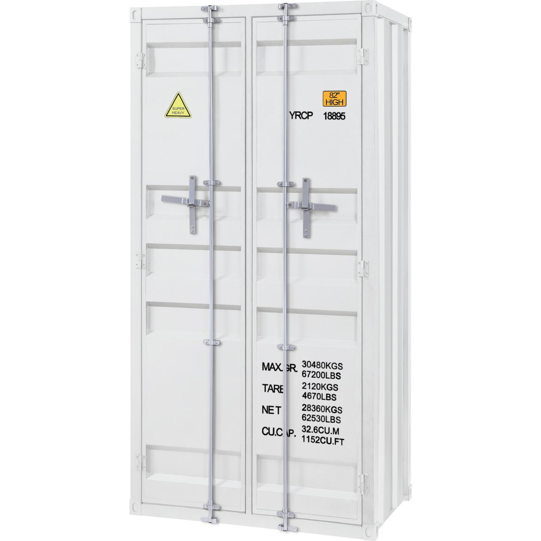 acme 37889 cargo armoire wardrobe in white metal