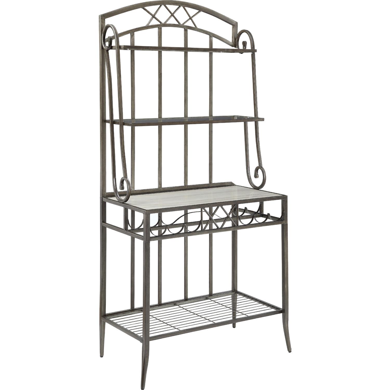 antique finish acme aldric faux marble bakers rack furniture kolhergroup kitchen dining room furniture