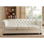 Monaco Leather 3 Piece Set Sofa Loveseat Armchair In Diamond Tufted Pearl White By Hydeline Leather