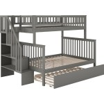Atlantic Ab56759 Woodland Staircase Twin Over Full Bunk Bed Urban Trundle Bed In Grey