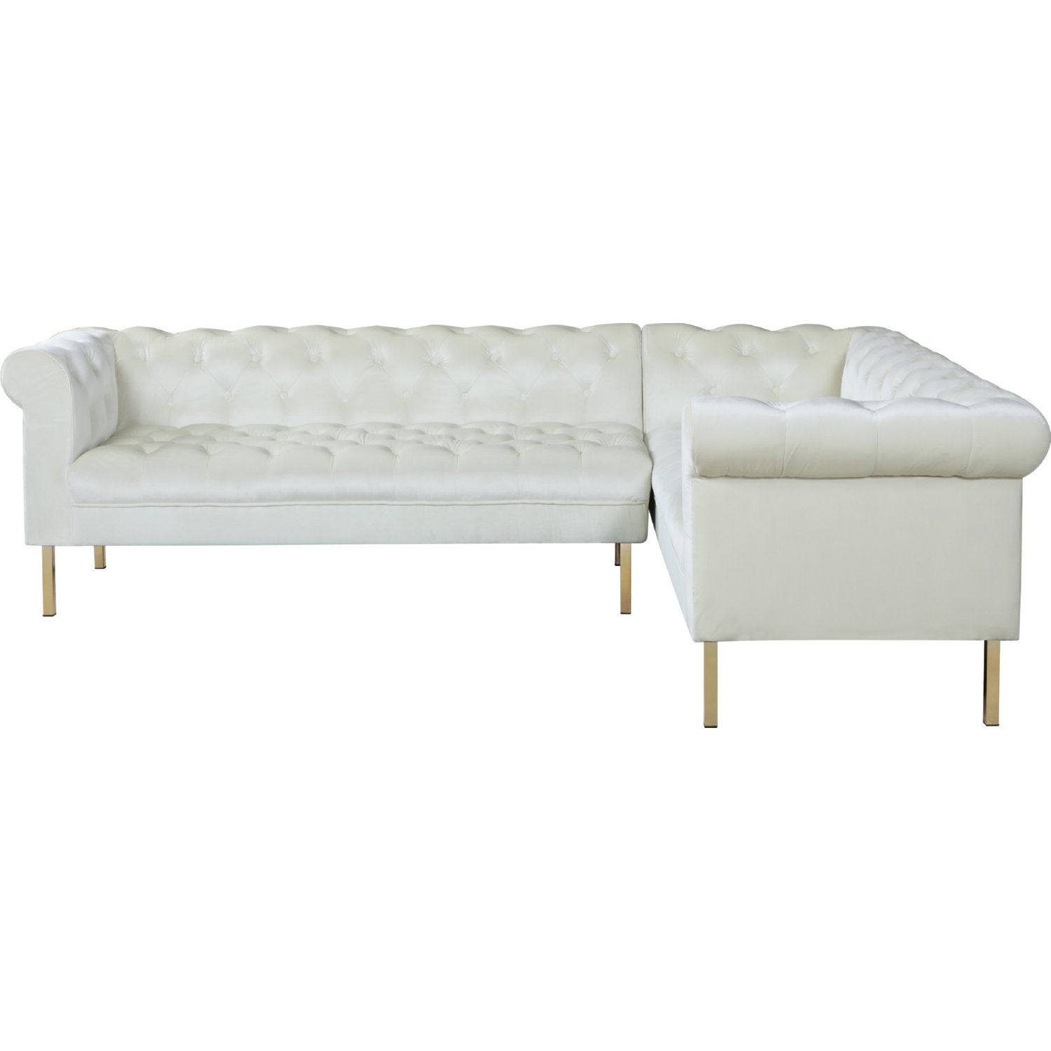 Chic Iconic Fsa9206 Dr Giovanni Right Sectional Sofa In Tufted Beige Velvet On Gold Legs