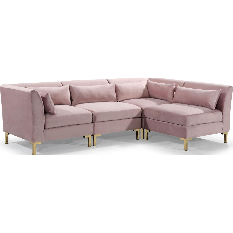 chic iconic fsa9261 dr girardi modular sectional sofa in blush velvet on gold metal legs