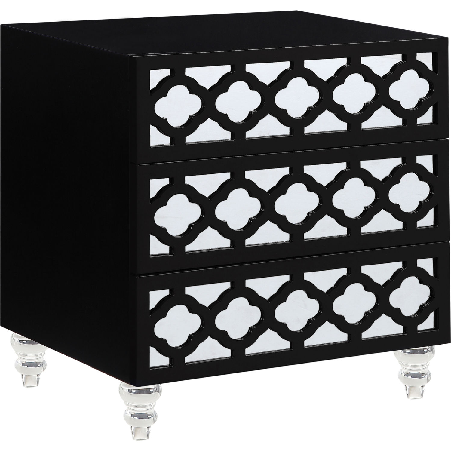 Bergamo Nightstand Side Table In High Gloss Black Lacquer On Acrylic Legs By Chic Home