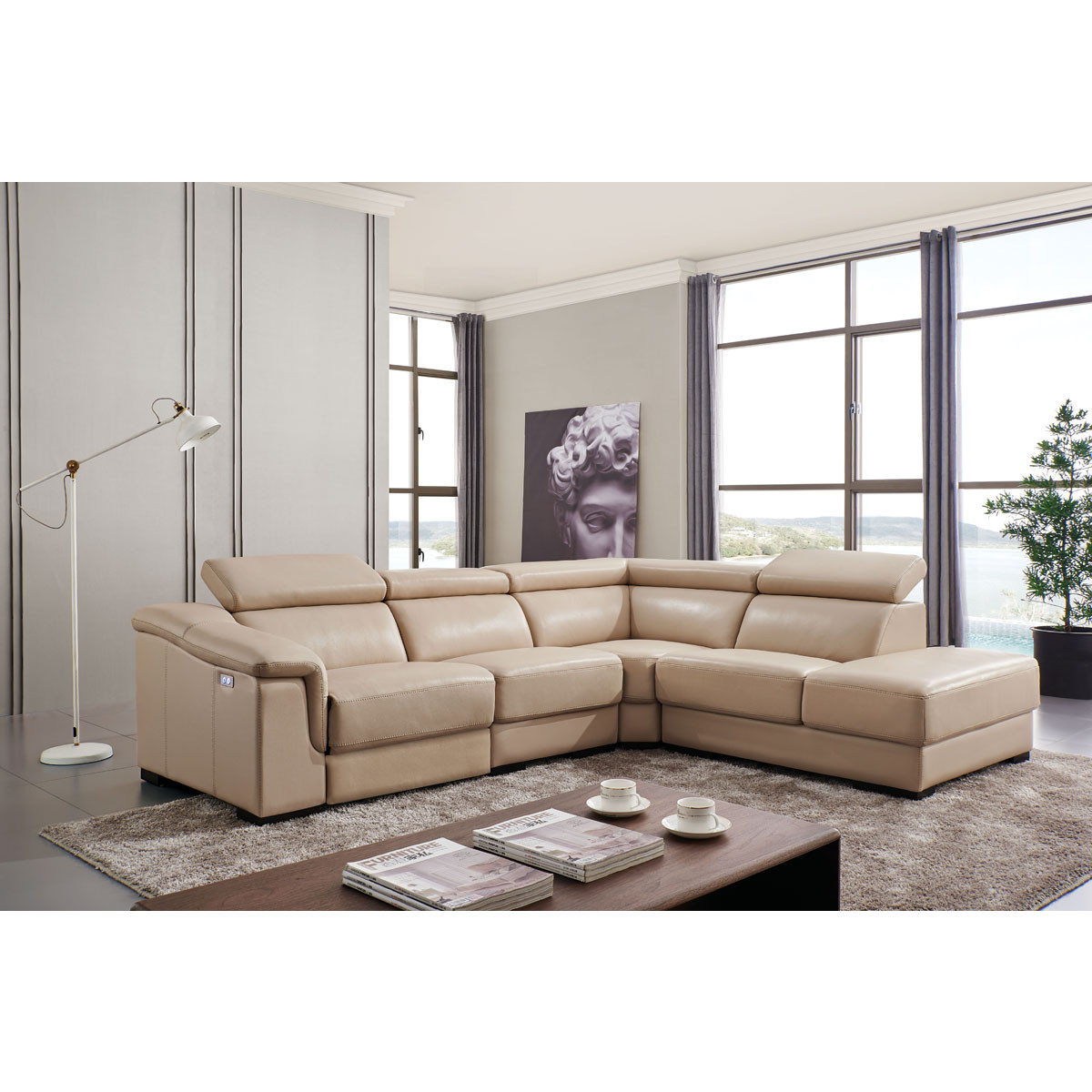 760 Sectional Sofa W Right Chaise Left Recliner In Beige Leather By Esf Furniture Imports