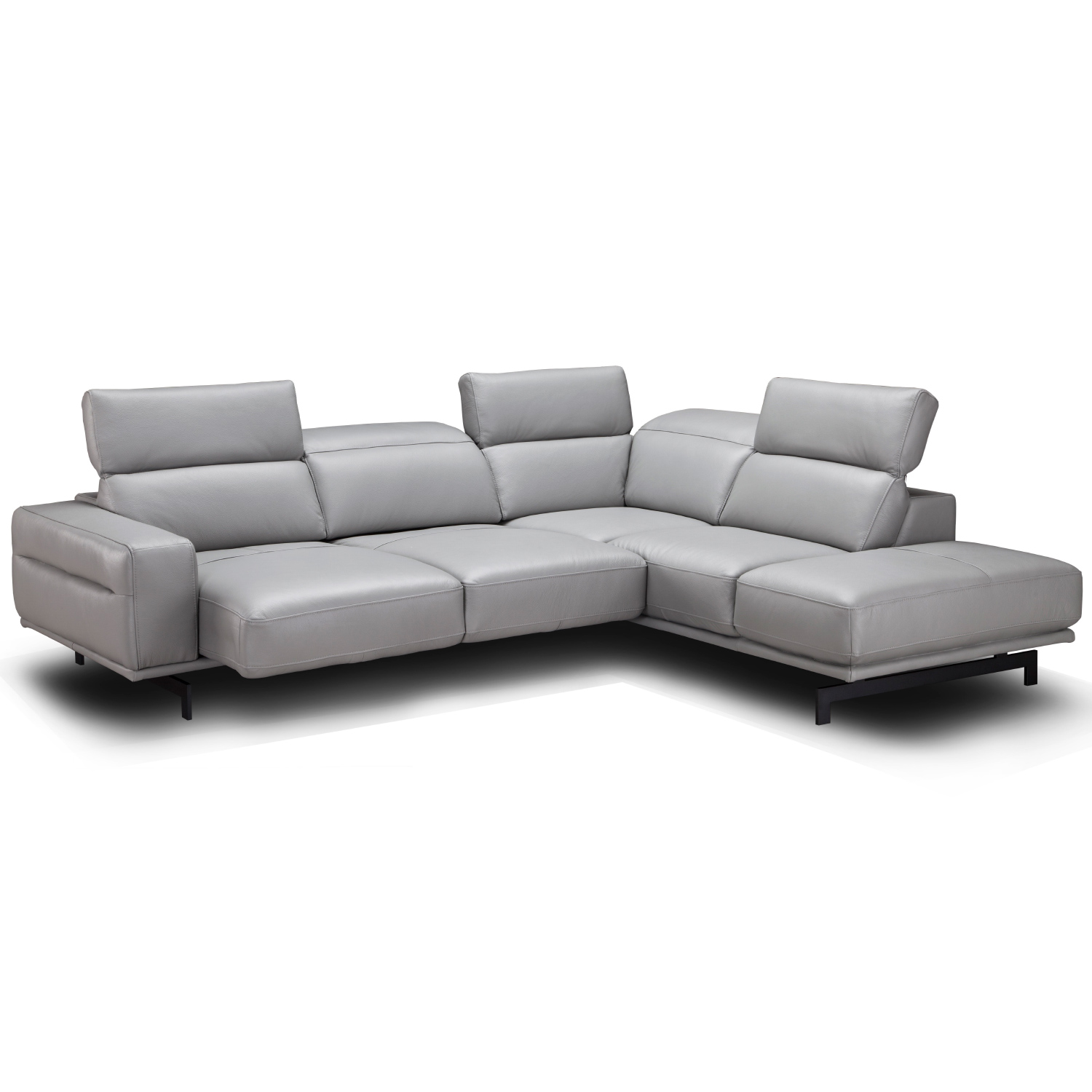 Davenport Sectional Sofa W Right Facing Chaise In Light Grey Top Grain Leather By J And M Furniture