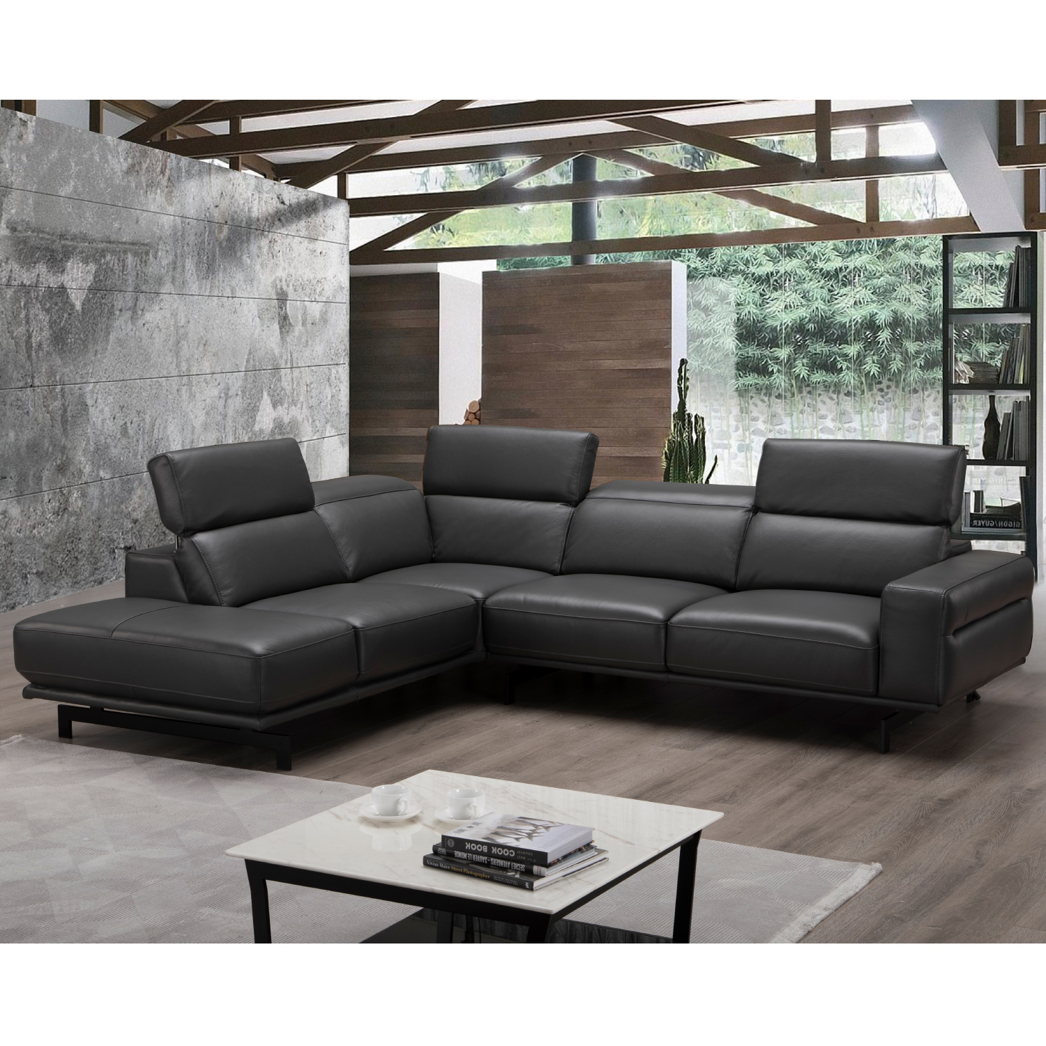 Davenport Sectional Sofa W Left Facing Chaise In Slate Grey Top Grain Leather By J And M Furniture