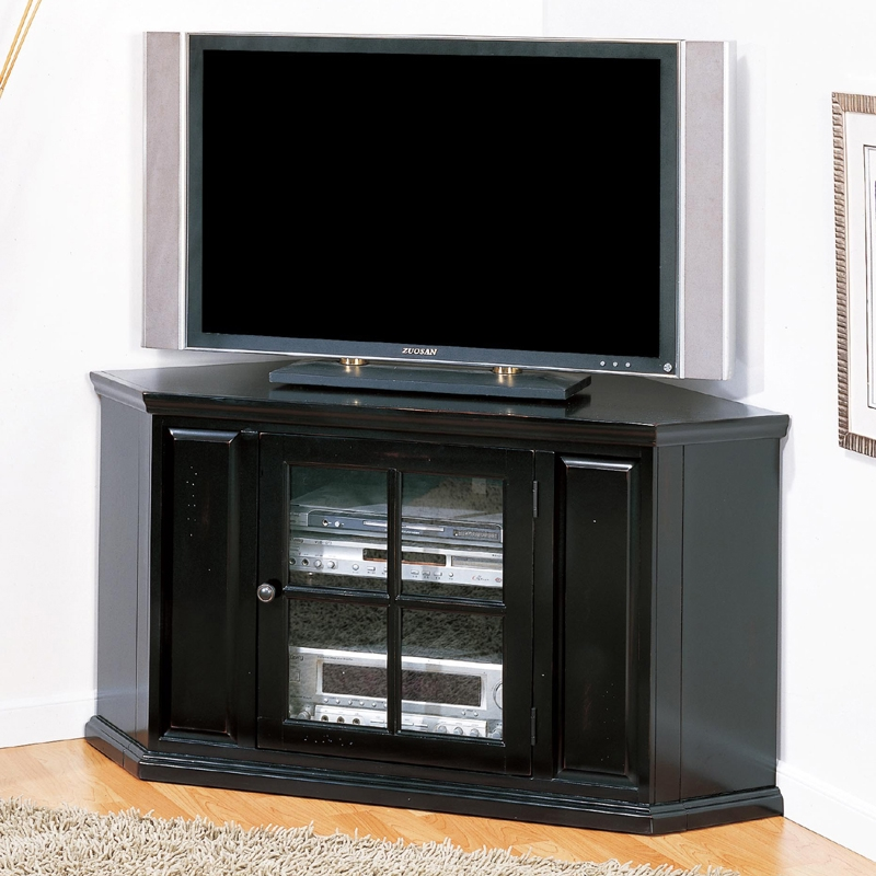 Leick Furniture 83285 Riley Holliday 46 Corner TV Console In Distressed Black