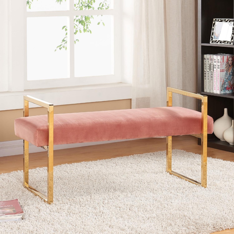 Meridian Furniture 111Pink Olivia Pink Velvet Bench On