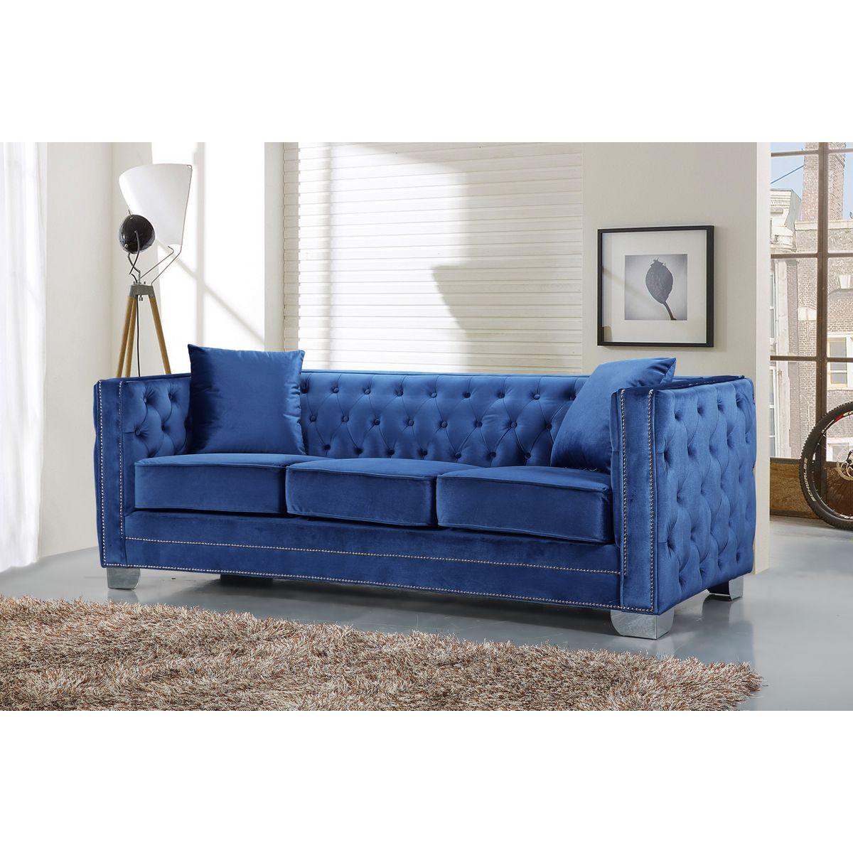 Meridian Furniture 648LtBlu S Reese Light Blue Velvet Sofa W Tufted Back Amp Arms On Metal Legs