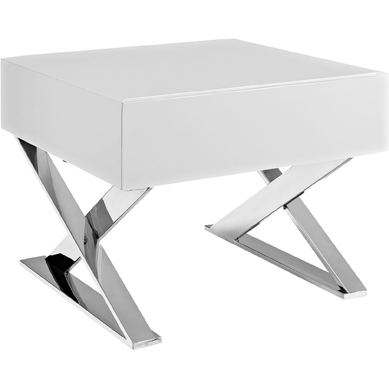 Sector Nightstand In High Gloss White On Polished Stainless Steel Legs By Modway