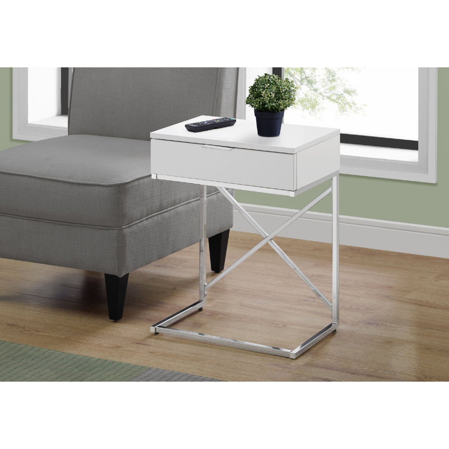 monrach i 3470 24 h accent table in glossy white chrome metal