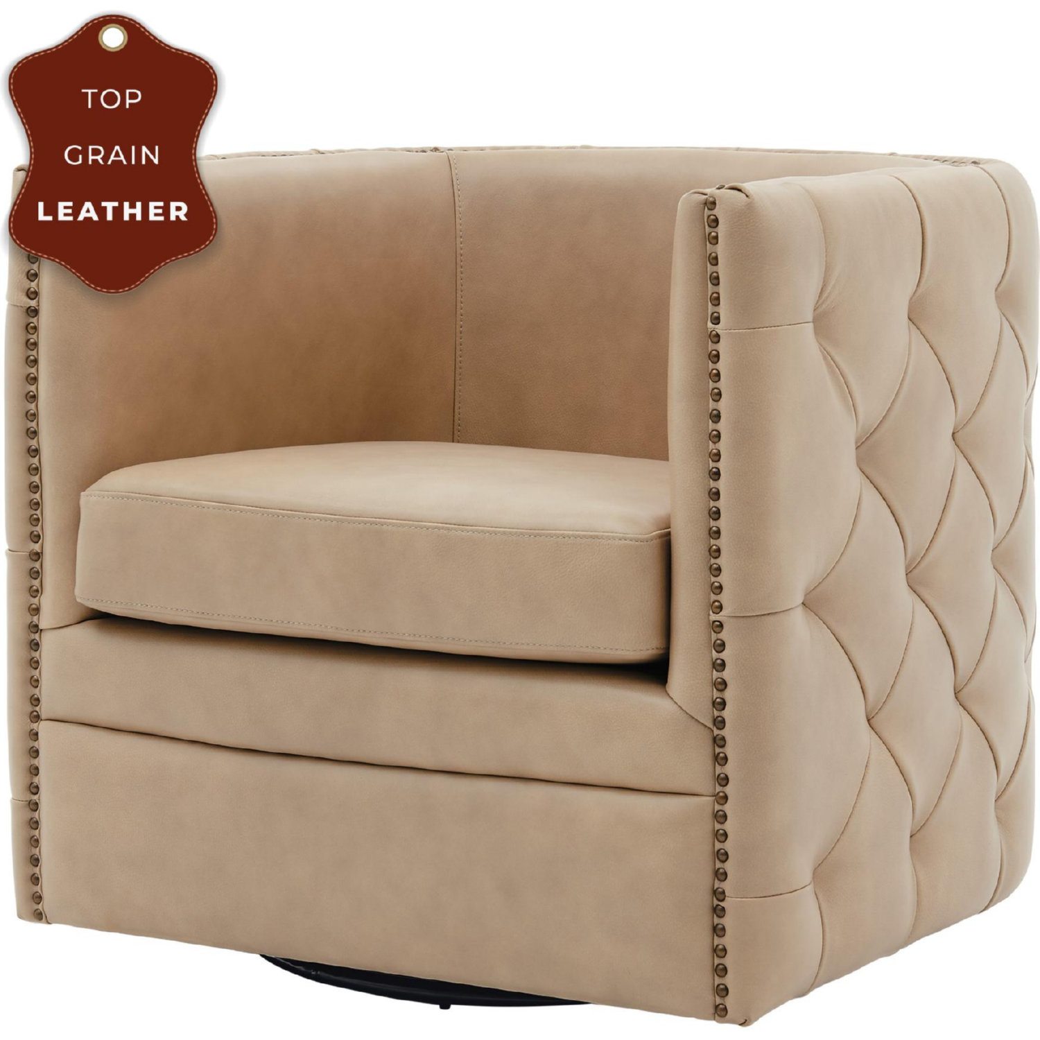 Npd 1900152 427 Leslie Swivel Accent Chair In Tufted Beige Top Grain Leather