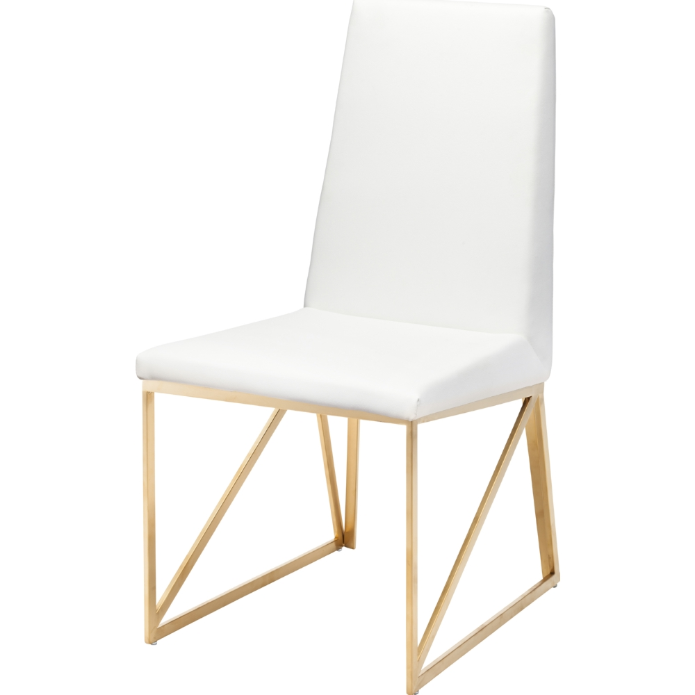 Nuevo Modern Furniture HGTB316 Caprice Dining Chair In White Naugahyde On Brushed Gold Stainless