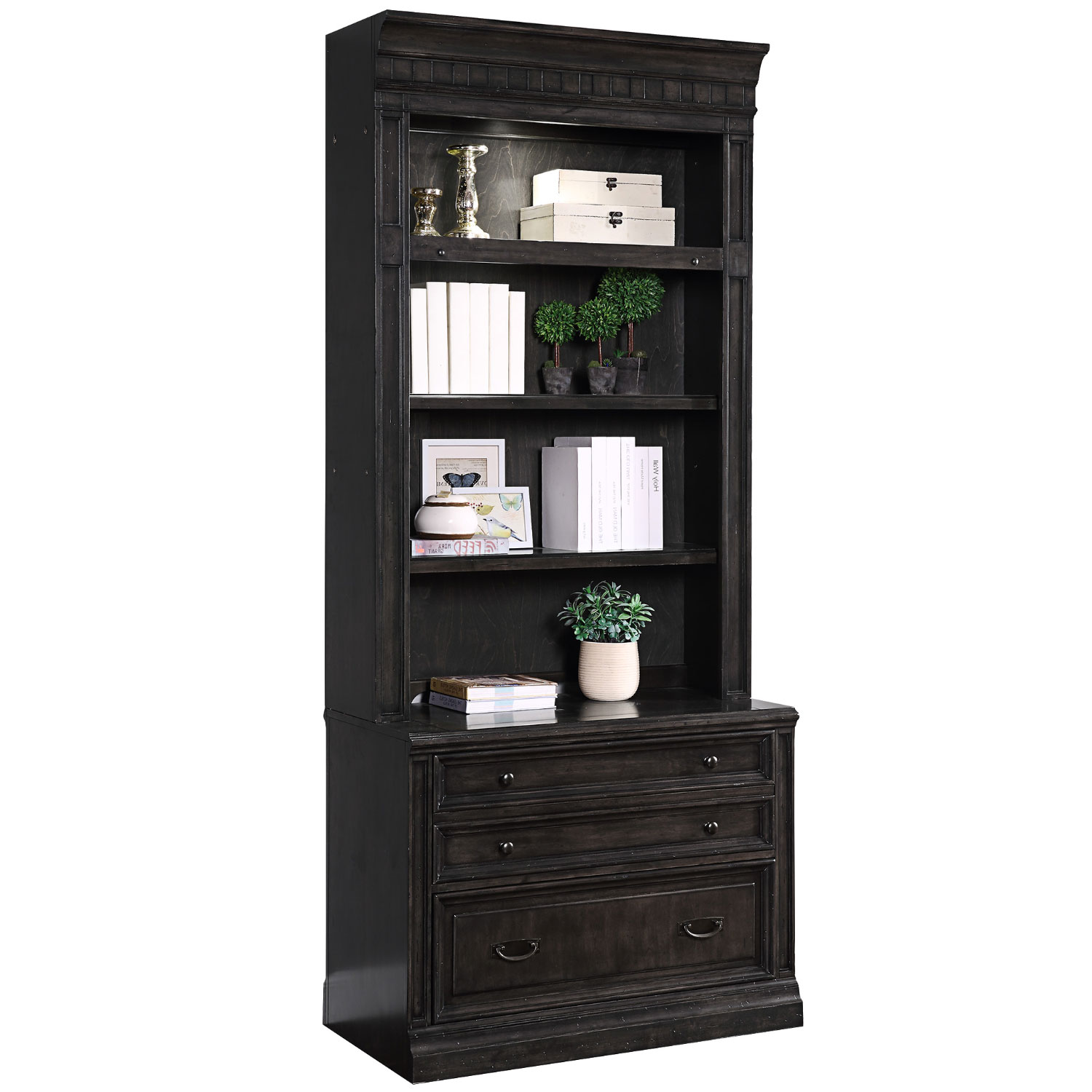Washington Heights Lateral File Hutch In Washed Charcoal Grey Wood By Parker House