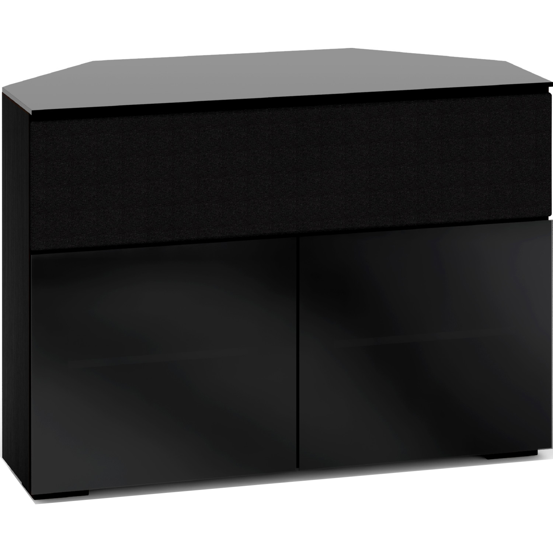 Salamander Designs C Os329cr Bg Oslo 329cr 44 Extra Tall Corner Tv Stand Cabinet For Center Speaker In Black Oak W Smoked Black Gl