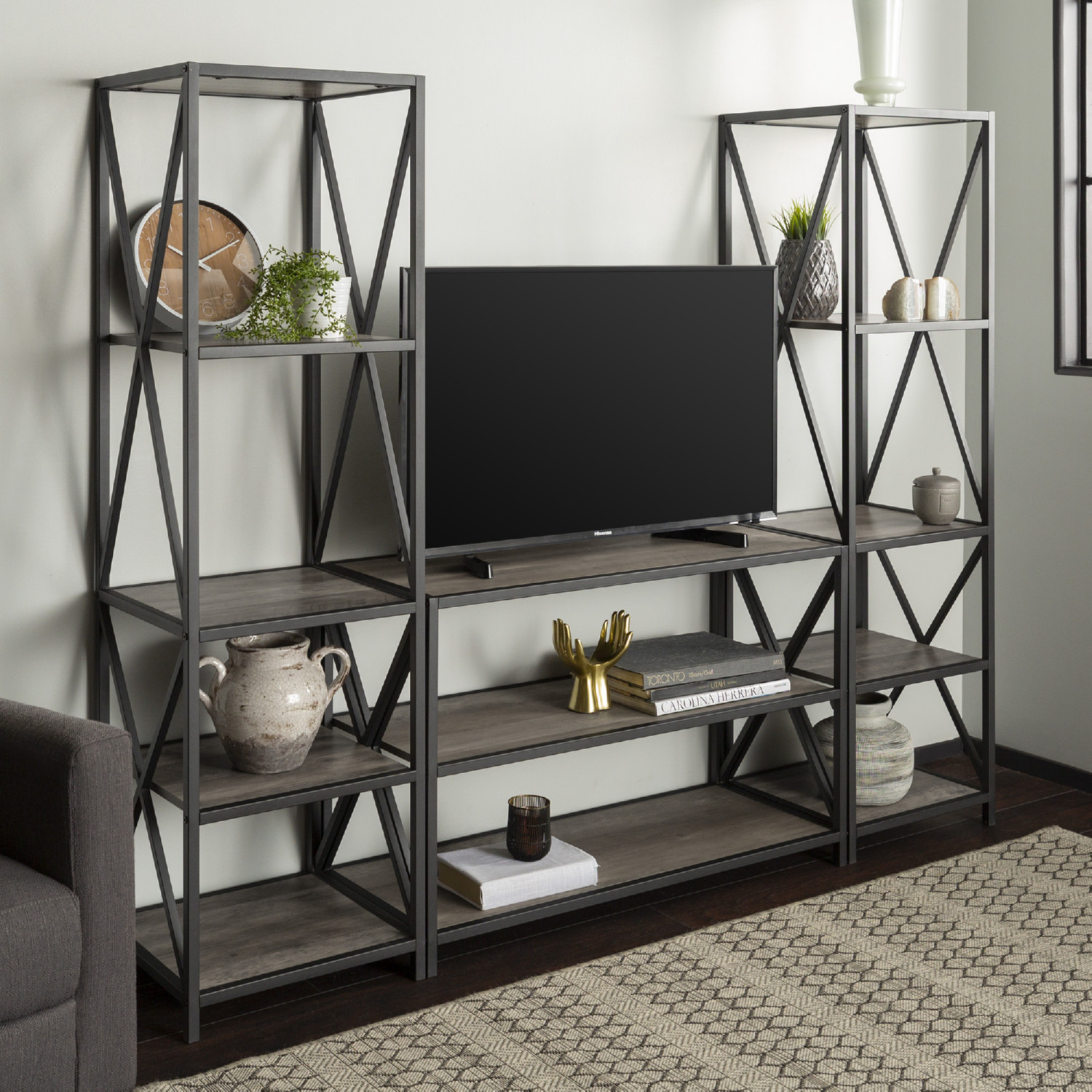 3 Piece Rustic Industrial Bookcase Set In Grey Wash Finish By Walker Edison