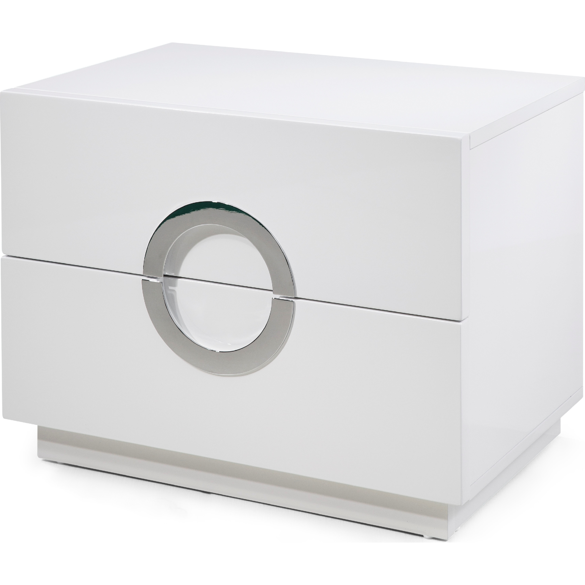 Eddy Night Stand Large High Gloss White W Round Stainless Steel Handles By Whiteline Imports