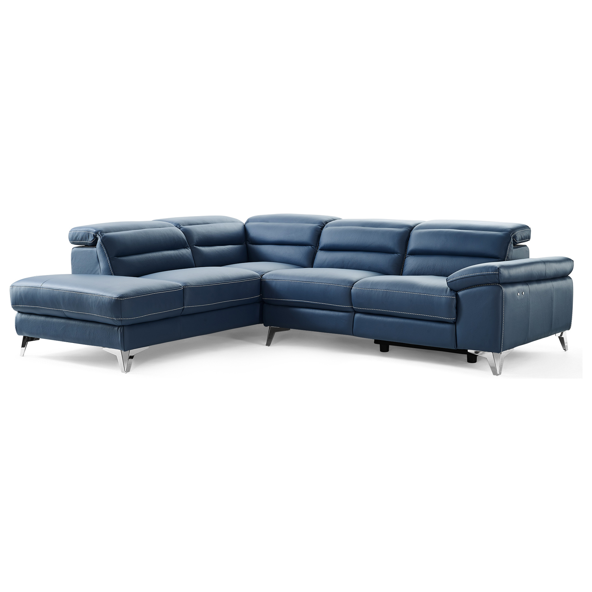 Whiteline Sl1349l Nvy Johnson Sectional Sofa W Chaise On Left In Navy Blue Top Grain Italian Leather On Stainless Legs
