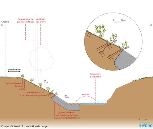Schéma : coupe du projet (scénario 2) de restauration et de protection des berges de l'Abereau